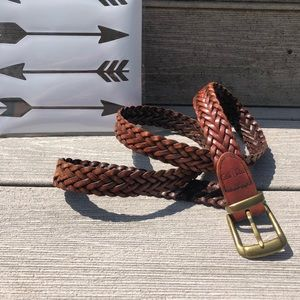 DOCKERS men's brown leather braided belt, size 36